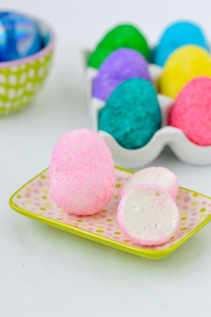 marshmallow easter eggs on plate