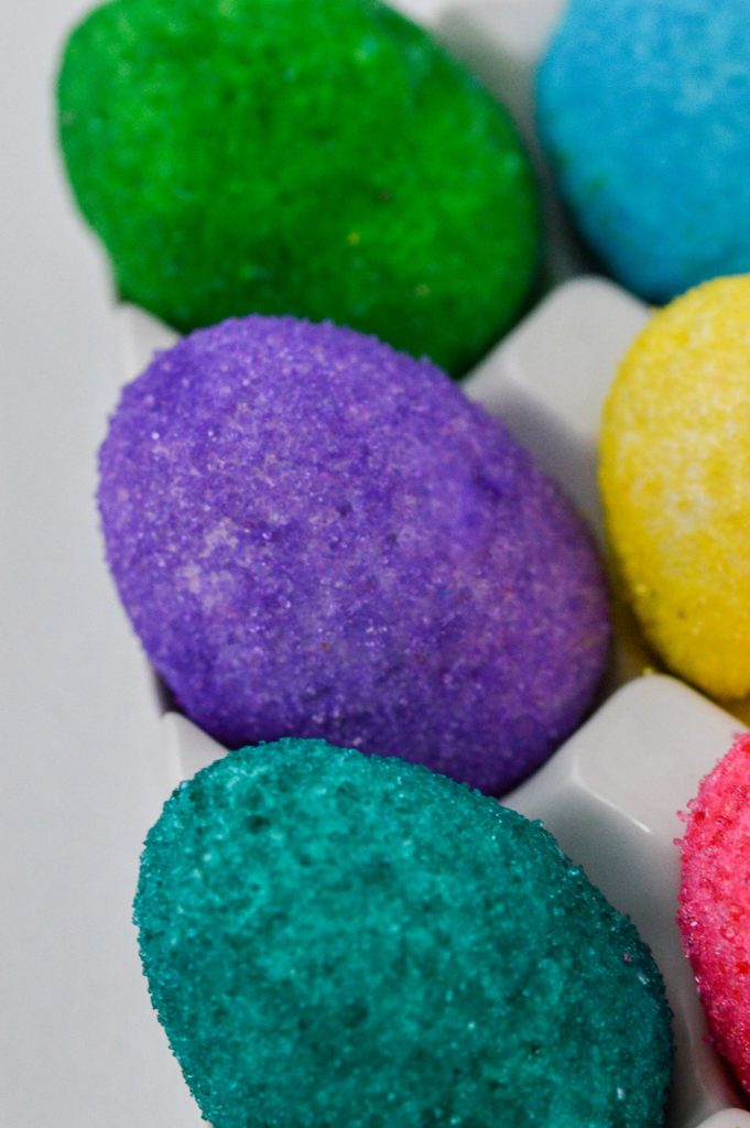 marshmallow easter eggs with colored sanding sugar