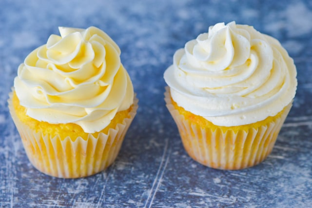 wiss Meringue Buttercream and American Buttercream on cupcakes