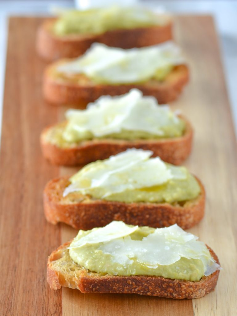 Fava Bean and Manchego Cheese Crostini
