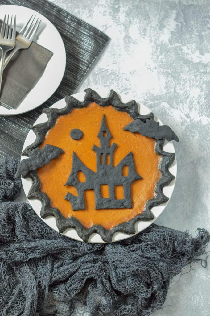 Halloween Pumpkin Pie Activated Charcoal Black Crust