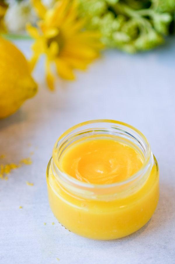 lemon curd in jar