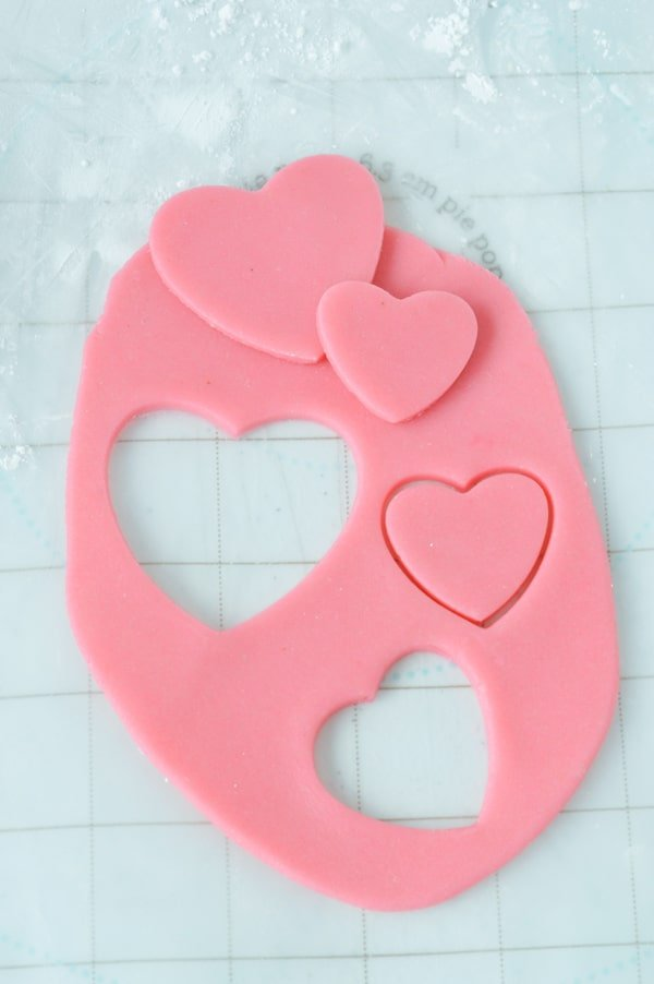 pink marzipan cut out in heart shapes