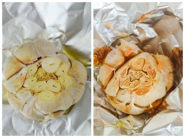 roast garlic before and after