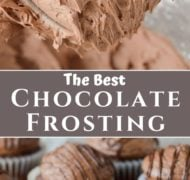 pinterest pin of chocolate frosting