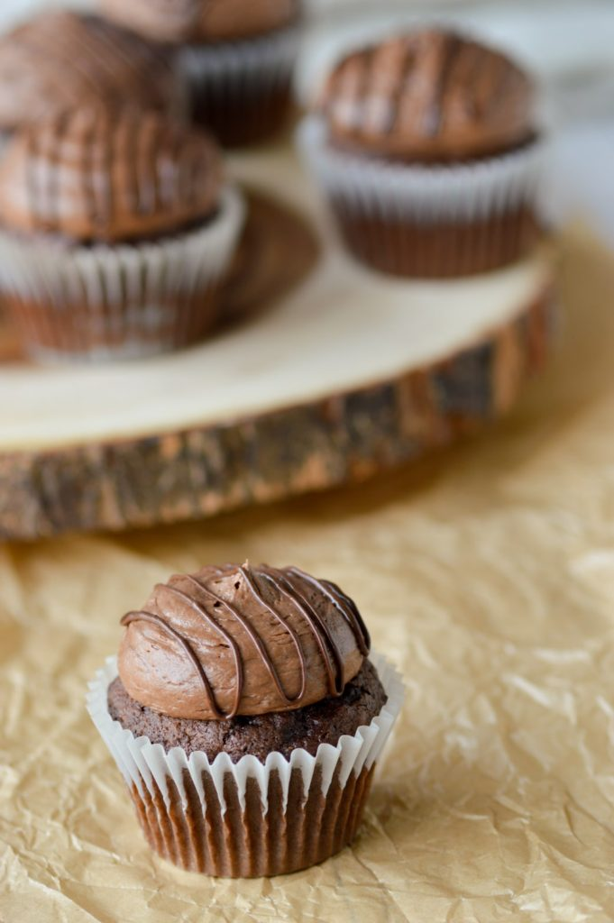 Chocolate American Buttercream Frosting on cupcpakes