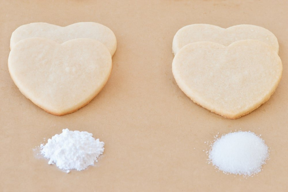 heart sugar cookies on parchment