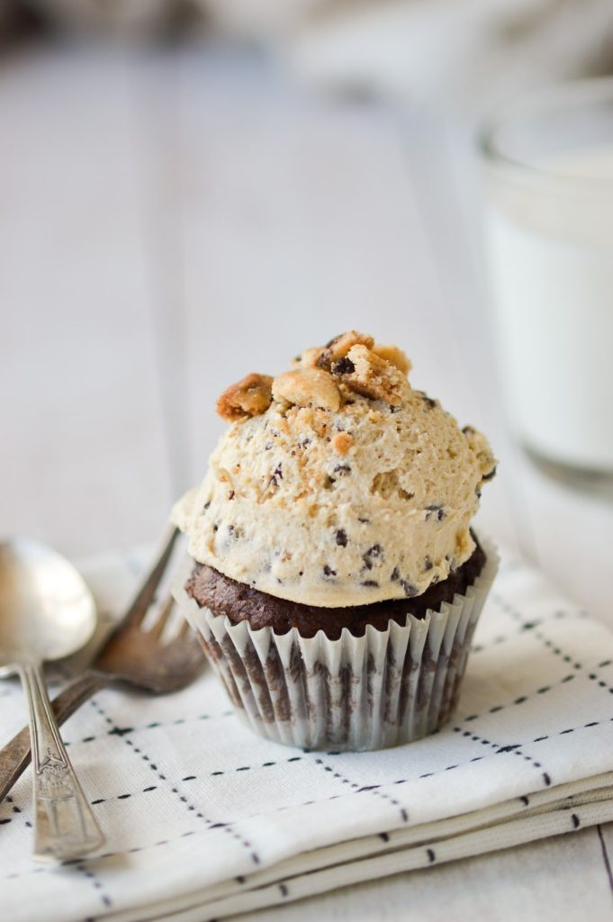 Cookie Dough Frosting on cupcakes