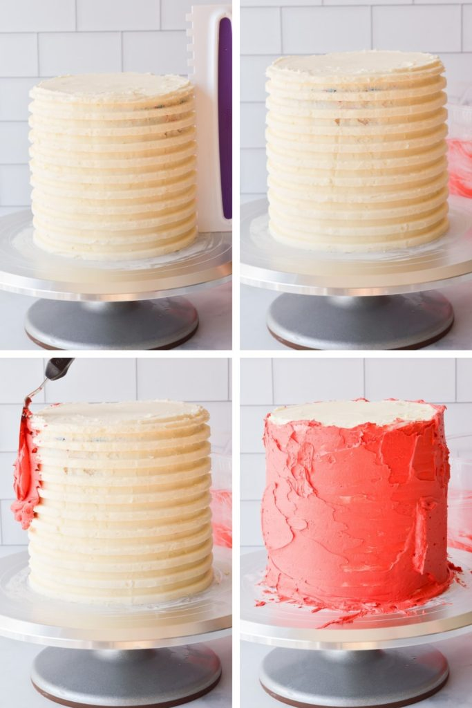 frosting red stripes on a white cake with buttercream