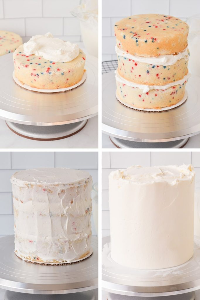 crumb coating and frosting cake process