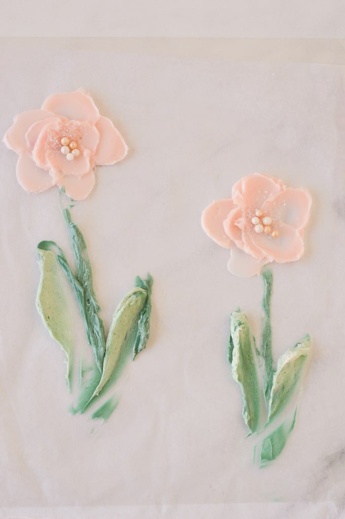 pink painted buttercream flowers