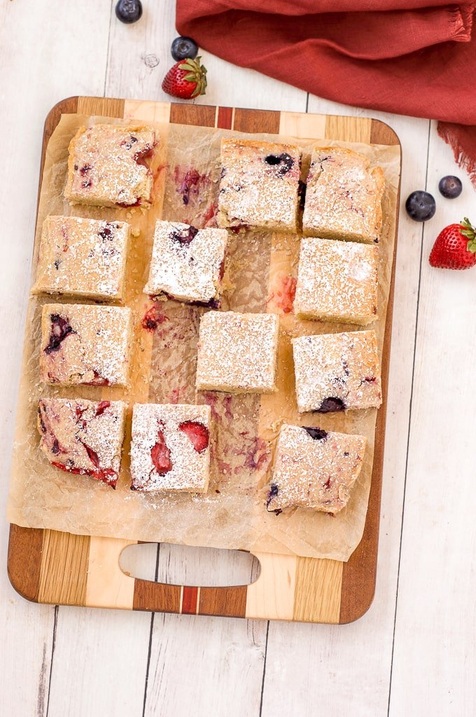 cut cookie bars on cutting board