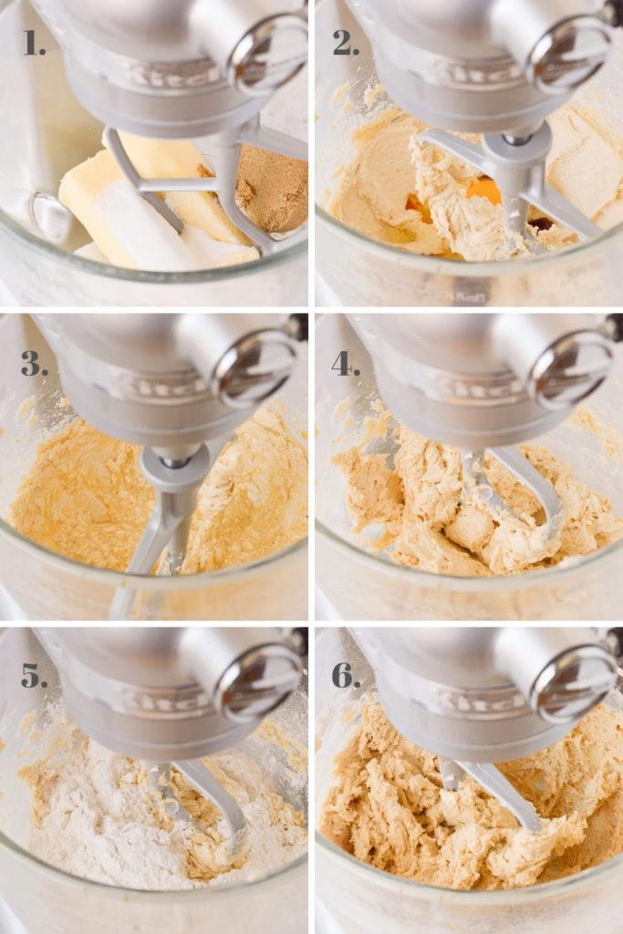 process of making cookie bar dough