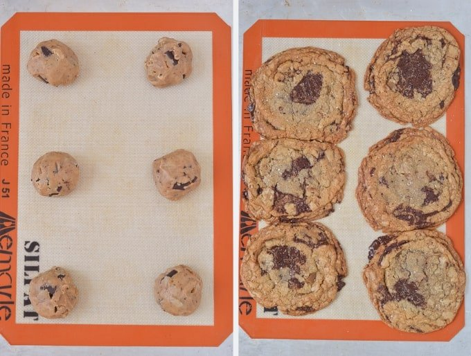 Brown Butter Toffee Chocolate Chip Cookies baked and unbaked