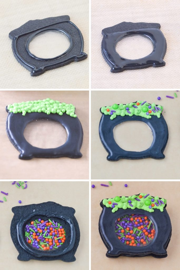 how to make halloween cauldron cookies with isomalt process pic