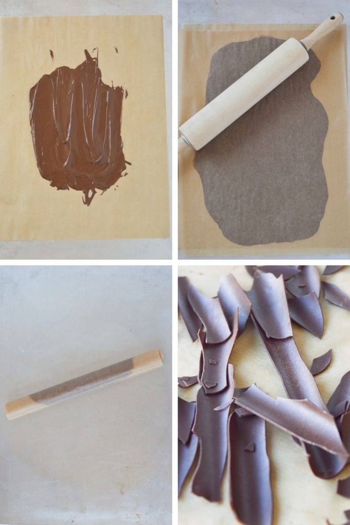 process of making chocolate bark for a cake