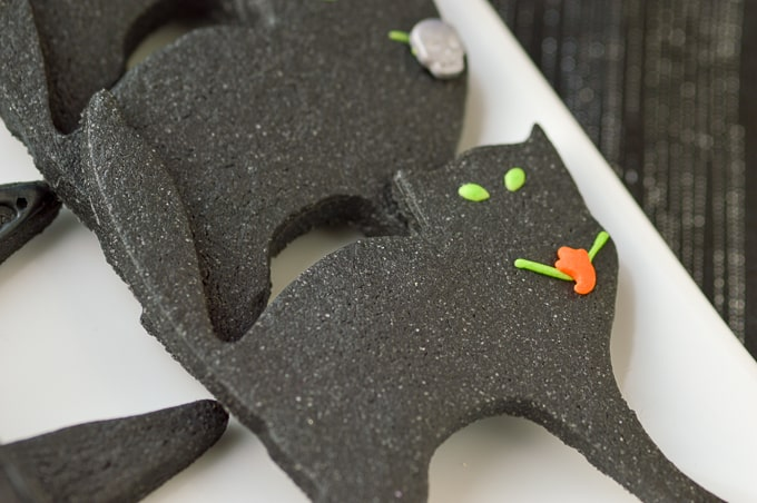 black cat sugar cookies with activated charcoal