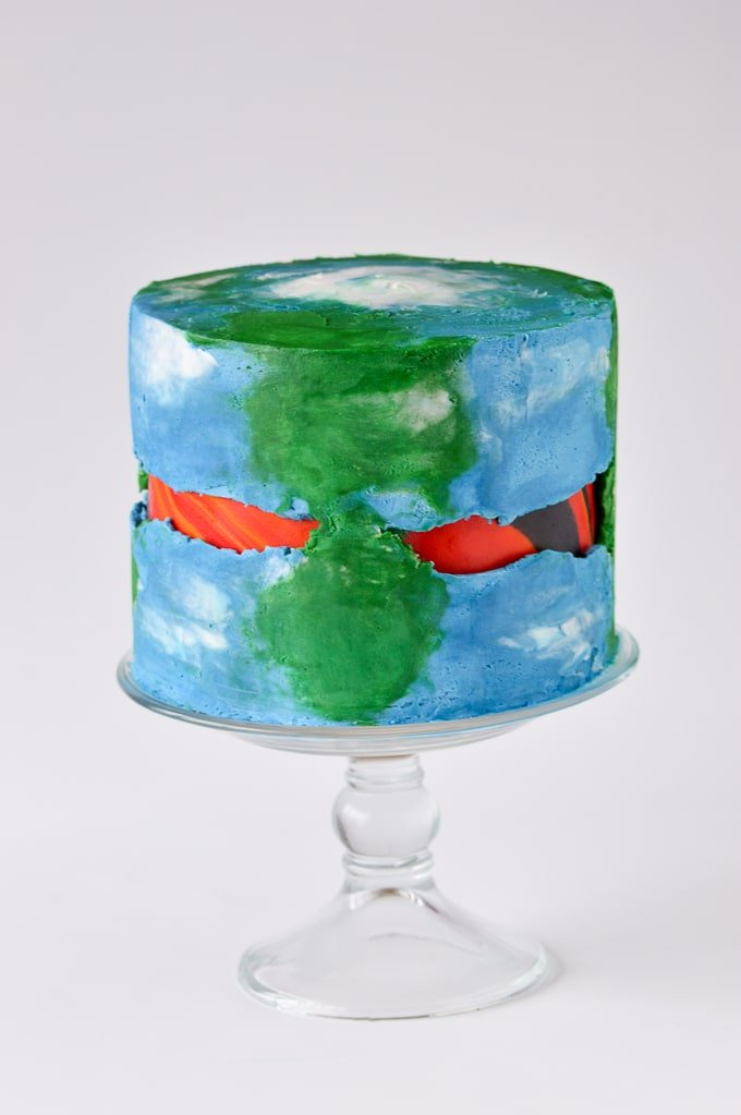 earth themed fault line cake with fondant
