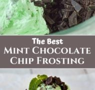 pinterest pin for mint chocolate chip frosting
