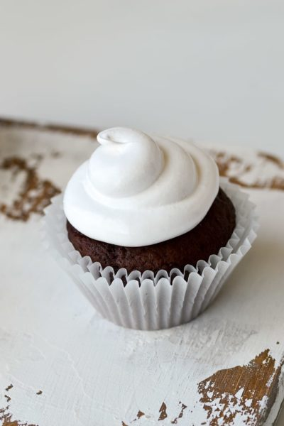 marshmallow frosting on cupcake