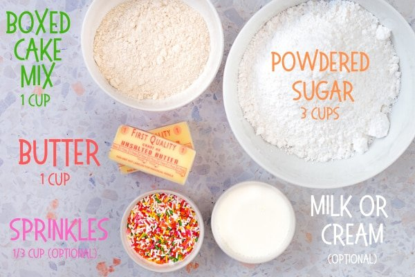 ingredients for cake batter frosting