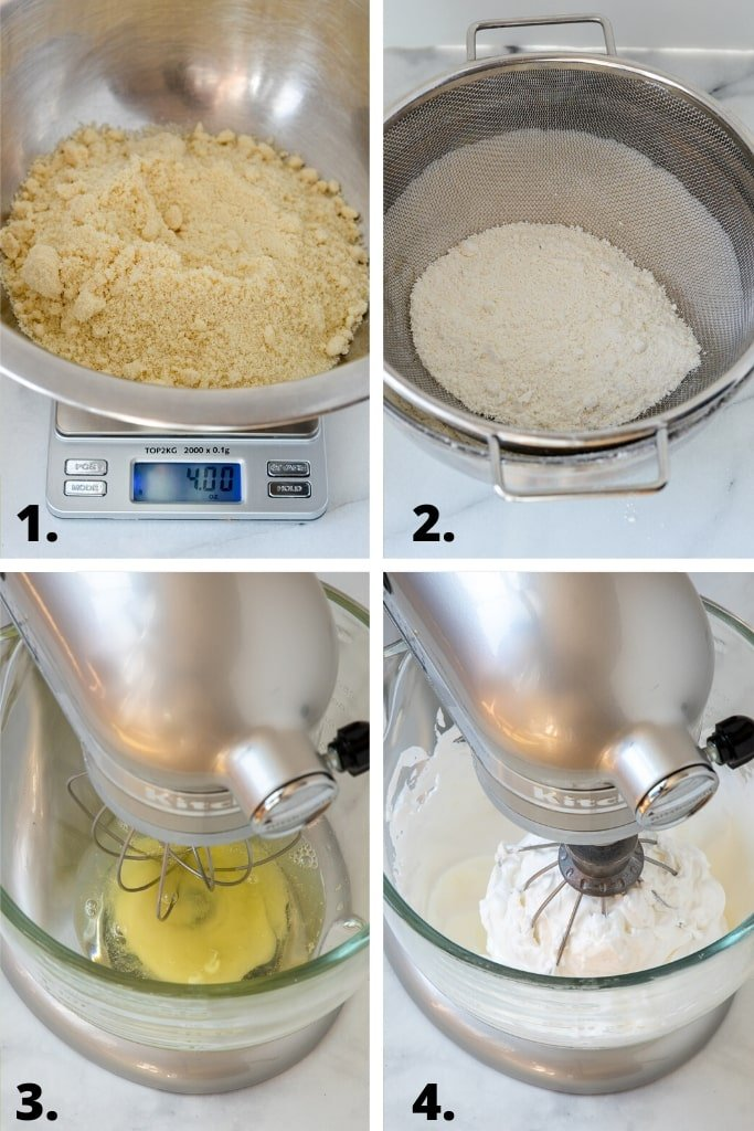 process of weighting and sifting almond powder and powdered sugar and whipping egg whites