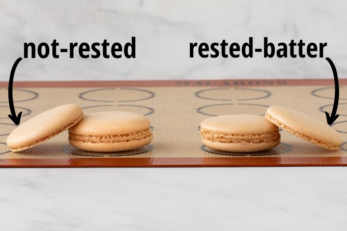 Rested versus non-rested baked french macaron shells