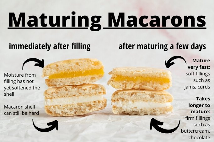 matured and not matured french macarons
