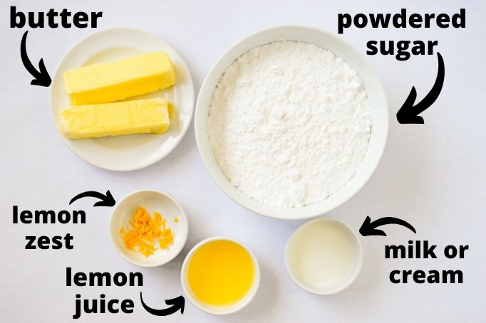 ingredients for lemon buttercream frosting