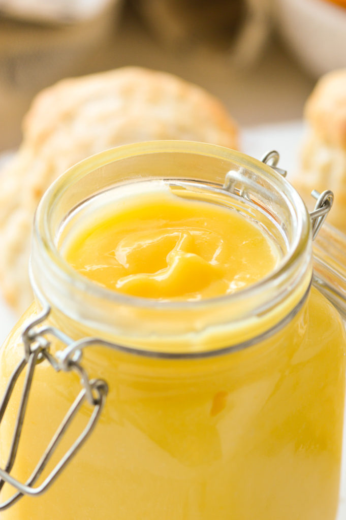 lemon curd in jar close up