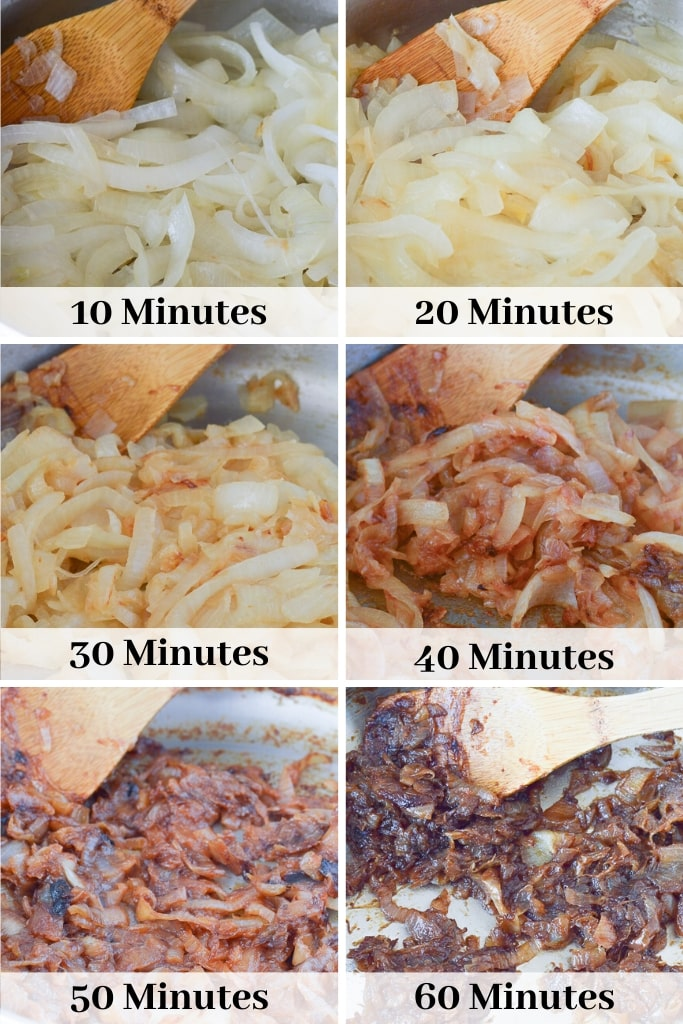 Caramelized Onions by time cooking (10 minutes to 60 minutes)
