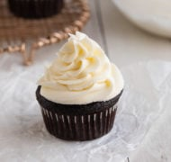 vanilla buttercream on cupcake