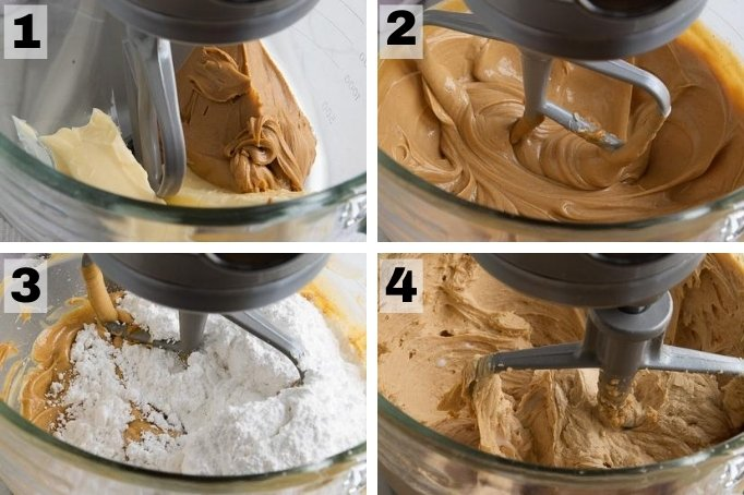process of making peanut butter buttercream frosting