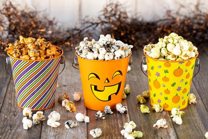 halloween popcorn in halloween tins
