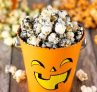 halloween popcorn with activated charcoal up close