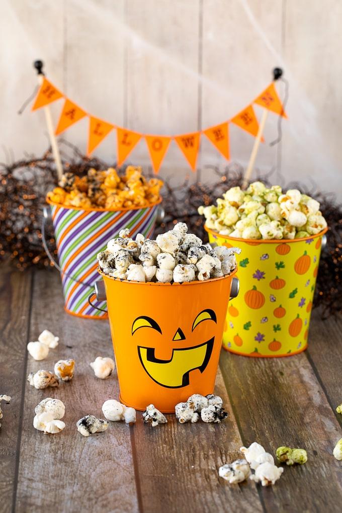 popcorn in halloween tins