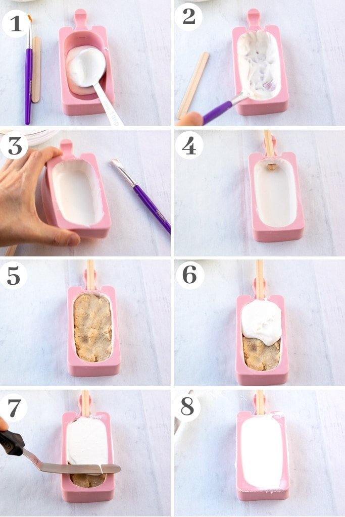 process of painting and filling cakesicle mold