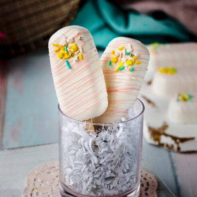 cakesicles in glass