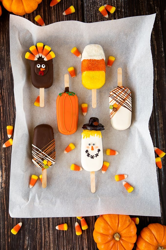 Thanksgiving Cakesicles on parchment