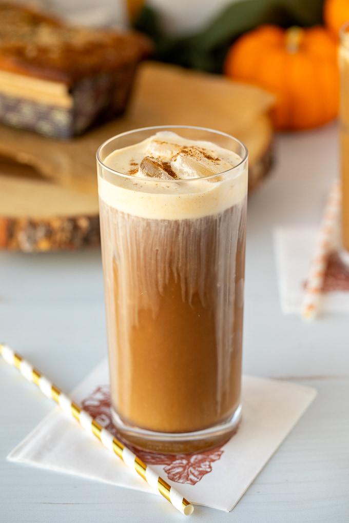 pumpkin cream cold brew coffee up close