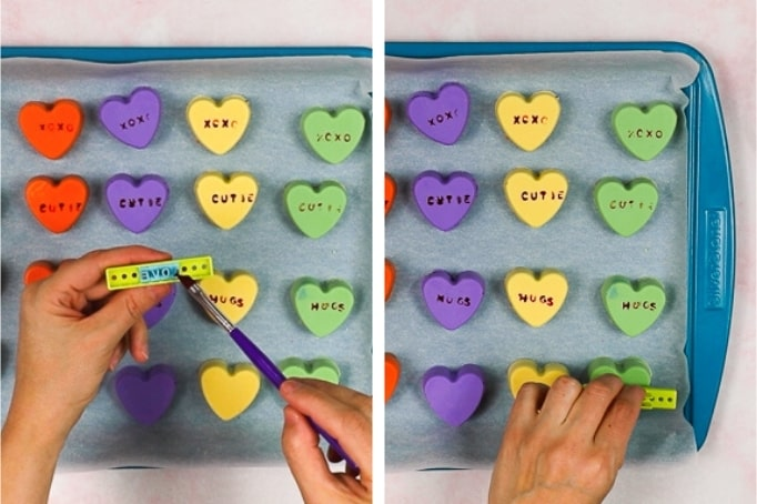 process of stamping cake hearts with words