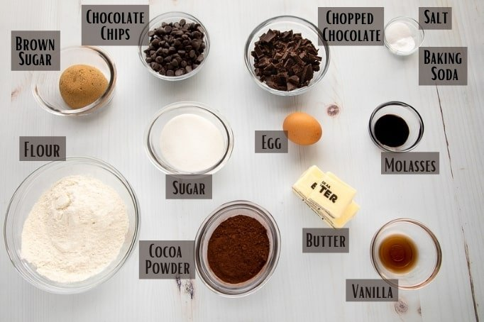 Ingredients for double chocolate chip cookies
