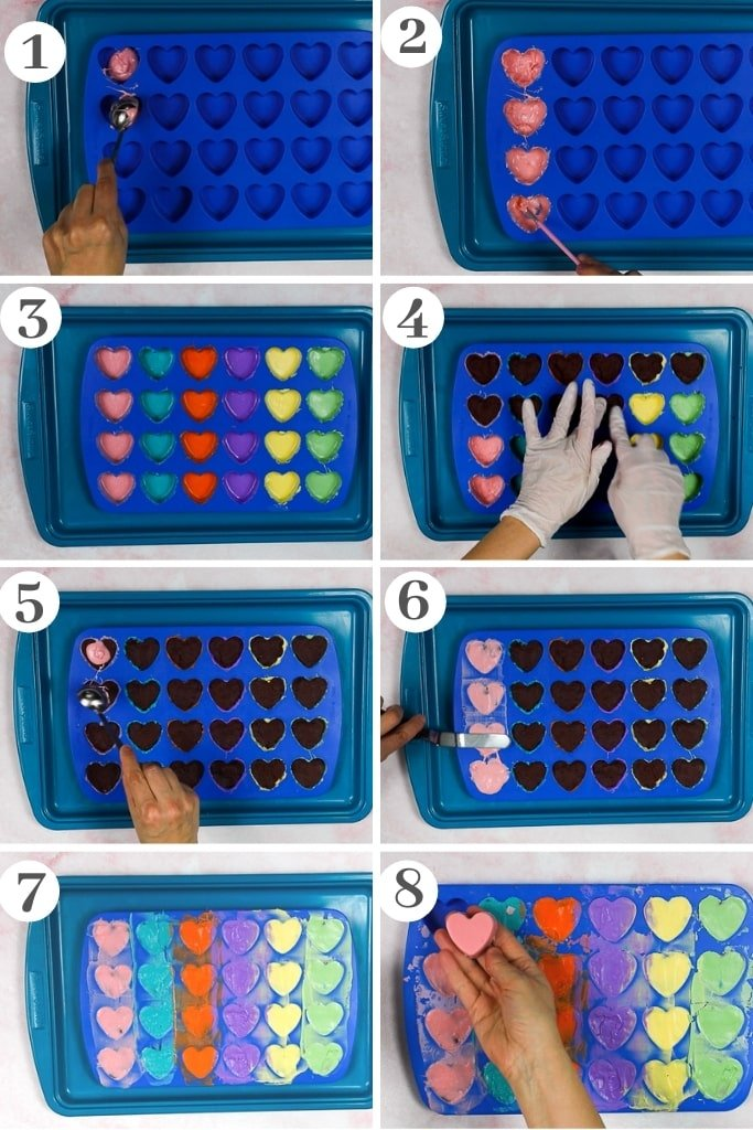 process of making cake hearts covered in chocolate