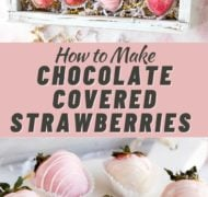 pin of pink chocolate covered strawberries