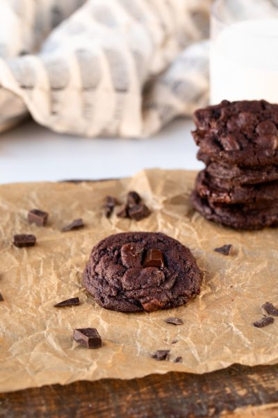 double chocolate cookies on parchment