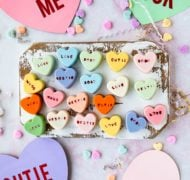 heart cake bites with paper hearts