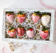 pink chocolate covered strawberries in box