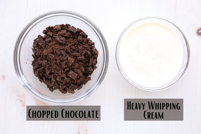 chopped chocolate and heavy whipping cream