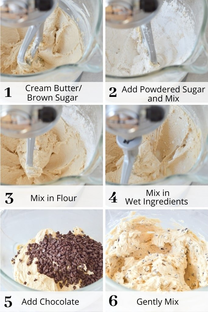 process of making cookie dough frosting