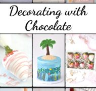collage of desserts decorated with chocolate